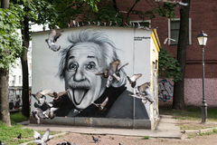 阿尔伯特・爱因斯坦街道画画象  免版税库存图片