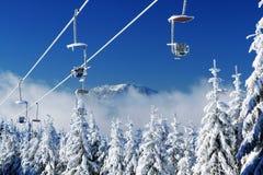 阿尔伯,冬天Lanscape, Šumava山,爱森斯坦 免版税库存照片