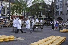 阿尔克马尔乳酪市场 库存图片
