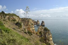 阿尔加威峭壁和海洋 免版税库存图片