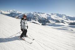 阿尔卑斯儿童法国滑雪 免版税图库摄影