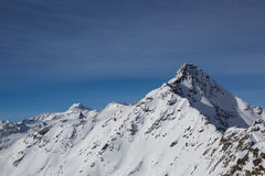 阿尔卑斯全景在瑟尔登,奥地利 免版税库存照片