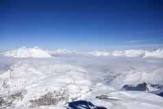 阿尔卑斯冬天全景 库存照片