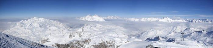 阿尔卑斯冬天全景 免版税图库摄影