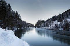 阿尔卑斯冻结的湖倾斜tyro 免版税图库摄影