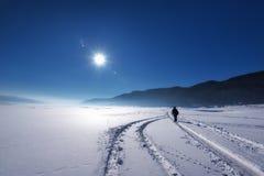 阿尔卑斯包括房子场面小的雪瑞士冬天森林 多斯帕特水坝在一个晴朗的冬日 斯诺伊童话在保加利亚 图库摄影