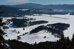 阿尔卑斯包括房子场面小的雪瑞士冬天森林 多斯帕特水坝在一个晴朗的冬日 斯诺伊童话在保加利亚 免版税库存图片