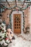 阿尔卑斯包括房子场面小的雪瑞士冬天森林 站立在房子围场的圣诞树 库存图片