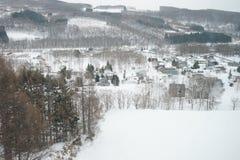 阿尔卑斯包括房子场面小的雪瑞士冬天森林 库存图片
