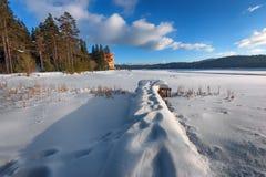 阿尔卑斯包括房子场面小的雪瑞士冬天森林 Shiroka Polyana水坝在一个晴朗的冬日 斯诺伊童话在保加利亚 免版税库存图片