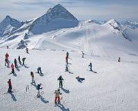 阿尔卑斯区奥地利冰川hintertux滑雪 免版税库存照片