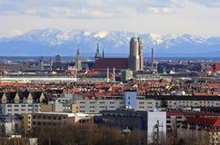 阿尔卑斯城市查看的慕尼黑 库存照片