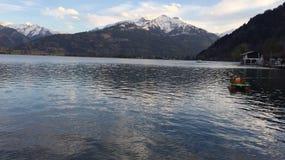 阿尔卑斯奥地利kaprun看见滑雪倾斜zell 库存照片