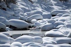 阿尔卑斯山全景冬天 库存照片