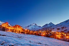 阿尔卑斯手段滑雪 免版税库存照片