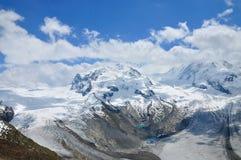 阿尔卑斯最高的monte山罗莎瑞士 库存图片