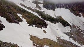 阿尔卑斯的积雪覆盖的高地的鸟瞰图 股票录像