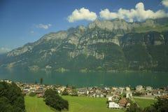 阿尔卑斯的背景的日内瓦湖 免版税库存图片