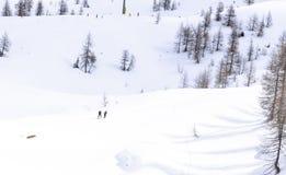阿尔卑斯的远足者在一个晴朗的冬日 免版税库存照片