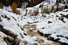阿尔卑斯秋天风景、雪和瀑布 免版税库存照片