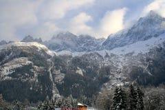 阿尔卑斯谷冬天 免版税库存照片