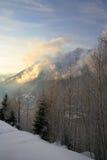 阿尔卑斯谷冬天 库存照片