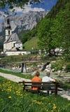 阿尔卑斯ramsau村庄 库存照片