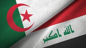 阿尔及利亚和伊拉克两旗子纺织品布料 皇族释放例证