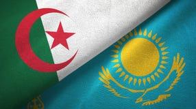 阿尔及利亚和哈萨克斯坦两旗子纺织品布料,织品纹理 库存例证