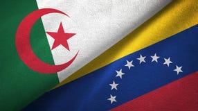 阿尔及利亚和委内瑞拉两旗子纺织品布料,织品纹理 皇族释放例证