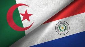 阿尔及利亚和巴拉圭两旗子纺织品布料,织品纹理 皇族释放例证