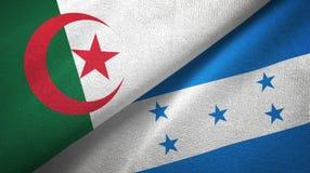 阿尔及利亚和洪都拉斯两旗子纺织品布料,织品纹理 库存例证