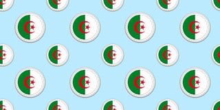 阿尔及利亚圆的旗子无缝的样式 阿尔及利亚的背景 传染媒介圈子象 几何标志 体育的纹理 向量例证