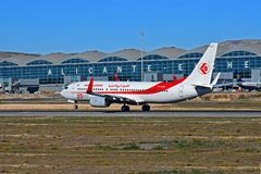 阿尔及利亚航空公司在阿利坎特机场 免版税库存照片