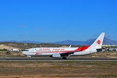 阿尔及利亚航空公司在阿利坎特机场 库存照片