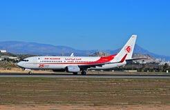 阿尔及利亚航空公司在阿利坎特机场 库存图片