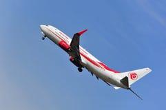 阿尔及利亚航空公司飞机在法兰克福国际机场上的 免版税图库摄影
