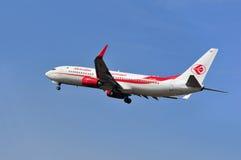 阿尔及利亚航空公司飞机在法兰克福国际机场上的 库存照片
