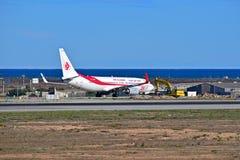 阿尔及利亚航空在阿利坎特机场 免版税库存照片