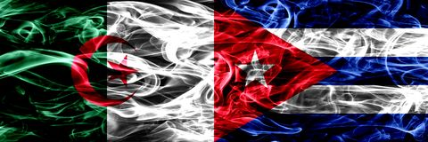 阿尔及利亚,阿尔及利亚人对古巴,肩并肩被安置的古巴烟旗子 概念和想法旗子混合 向量例证