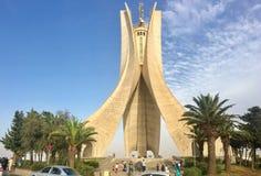阿尔及尔,阿尔及利亚- 2017年8月04日:Maqam Echahid纪念碑 在1982年打开安装的阿尔及利亚独立第20周年的 免版税库存照片