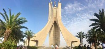 阿尔及尔,阿尔及利亚- 2017年8月04日:Maqam Echahid纪念碑 在1982年打开安装的阿尔及利亚独立第20周年的 免版税图库摄影