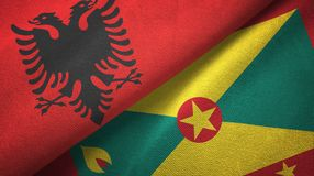 阿尔巴尼亚和格林纳达两旗子纺织品布料,织品纹理 皇族释放例证