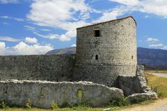 阿尔巴尼亚, Butrint,三角堡垒塔  免版税库存图片