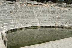 阿尔巴尼亚, Butrint,古老Amphiteatre废墟  免版税库存图片