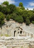 阿尔巴尼亚, Butrint,古老Amphiteatre废墟  库存照片