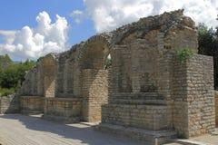 阿尔巴尼亚, Butrint,古老Amphiteatre废墟  图库摄影