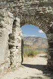 阿尔巴尼亚, Butrint,城市墙壁废墟  免版税库存图片