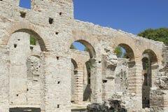 阿尔巴尼亚, Butrint,大教堂的废墟 免版税图库摄影