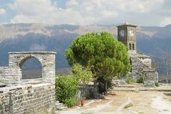 阿尔巴尼亚, Gjirokaster城堡,钟塔 库存图片